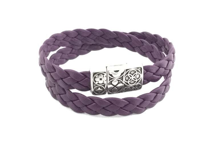Yuli/Flat Braided Leather Magnetic Clasp DBL Wrap Bracelet