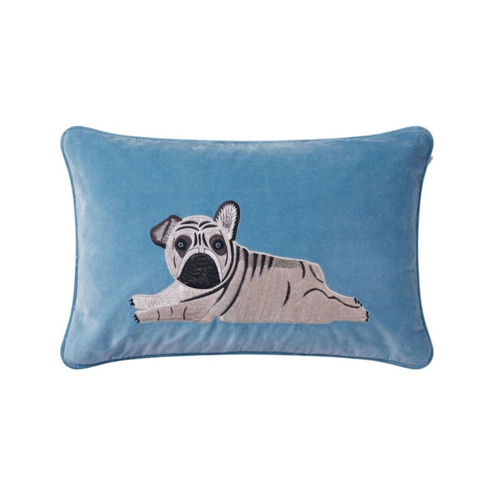 Kudde Velvet Embroidered Puppy från Chhatwal & Jonsson, Heaven Blue - Posh Living