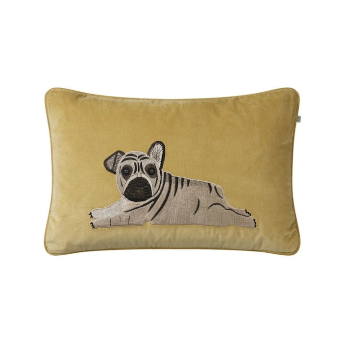 Kudde Velvet Embroidered Puppy från Chhatwal & Jonsson, Spicy Yellow - Posh Living