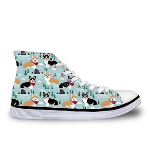 Dog Print Sneakers High Top Lace-up
