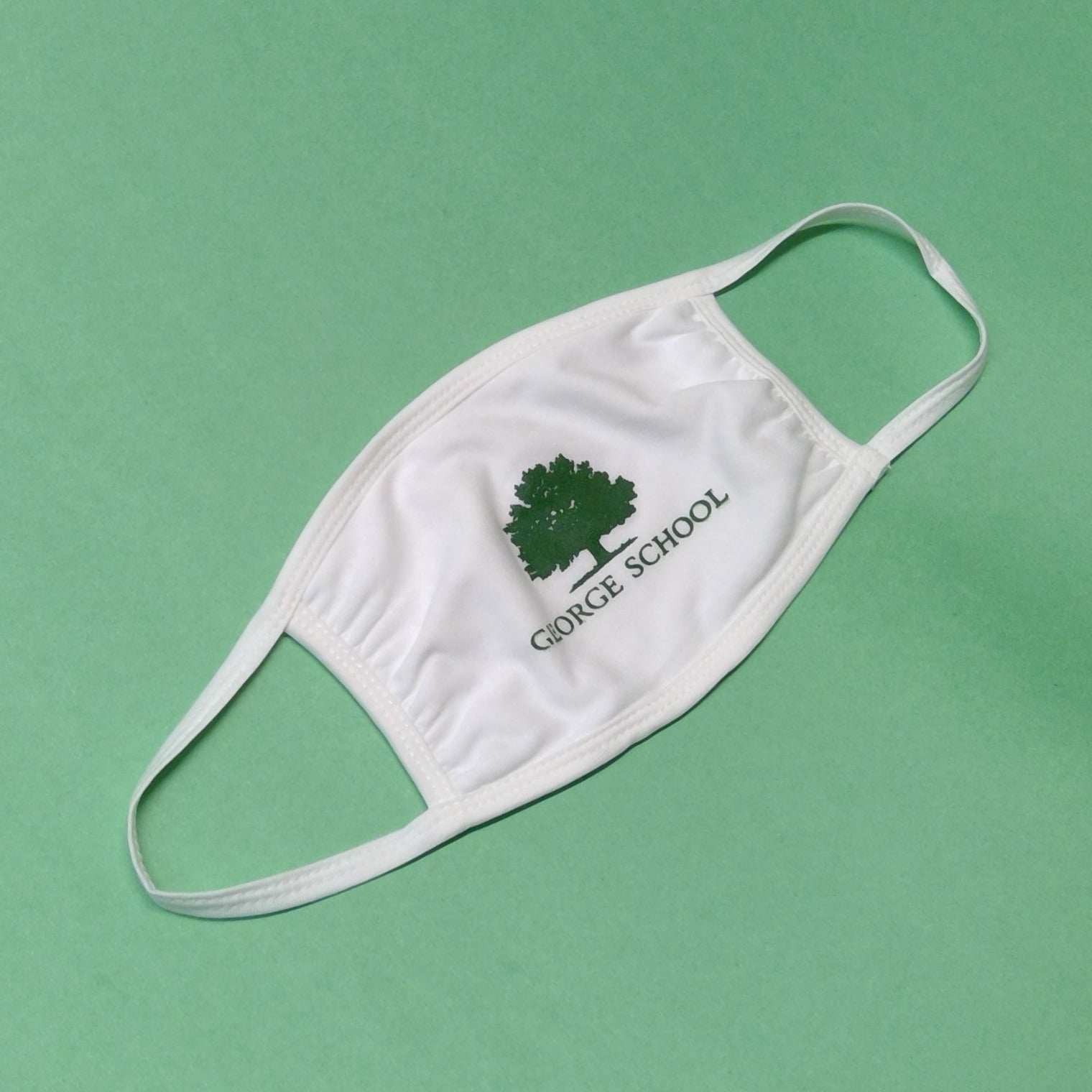 Mask - White w/ Green Tree and George School Name