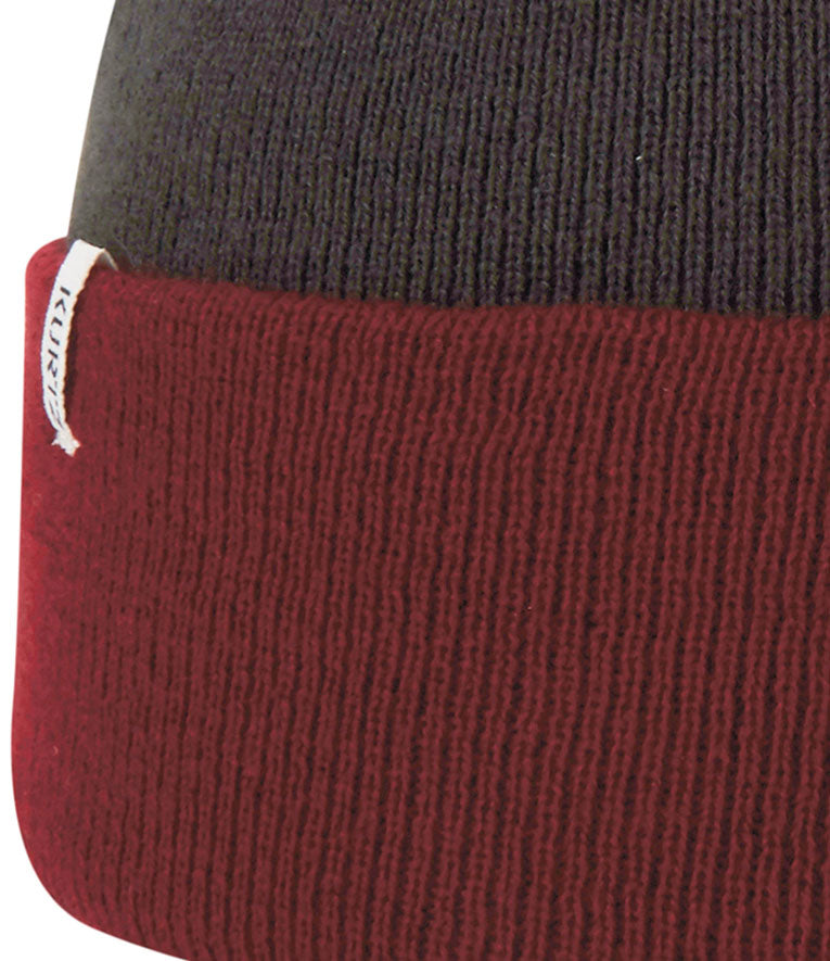 A. Kurtz Roll Up Beanie Watchcap - Dark Red - Detail