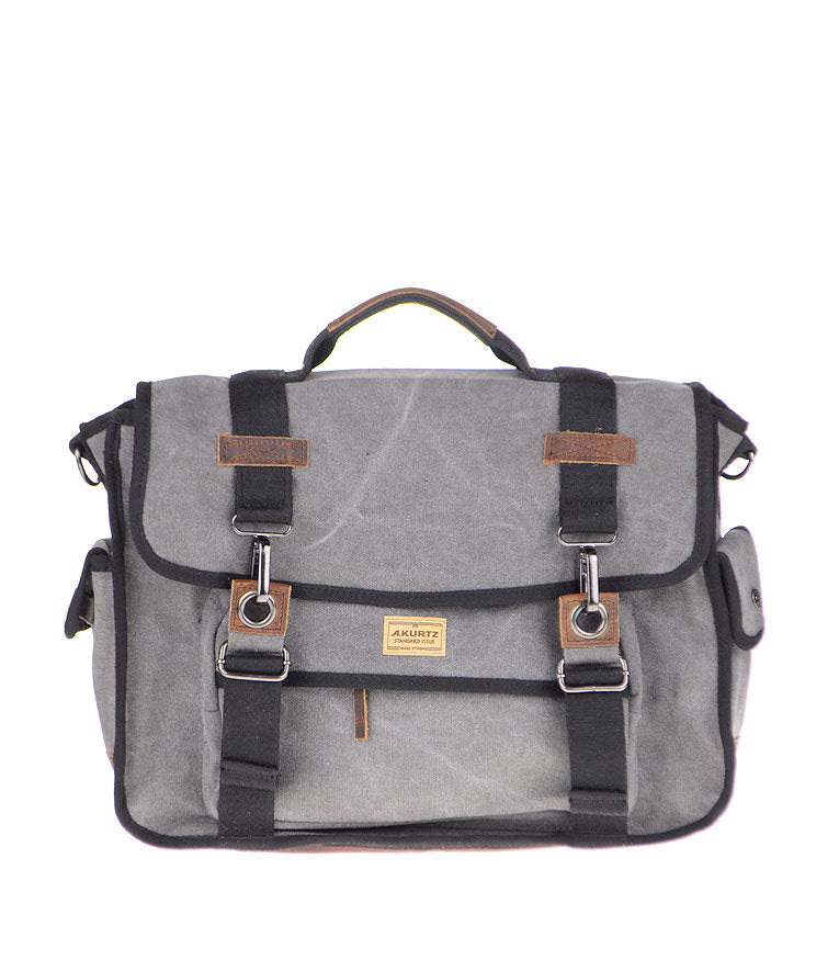 Canvas Messenger Bag - Charcoal