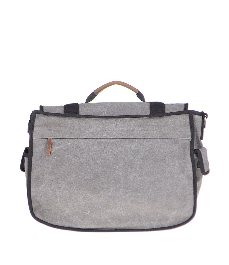Canvas Cotton Messenger Bag - Back Charcoal