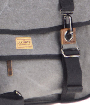 Canvas Messenger Bag - Charcoal Hardware