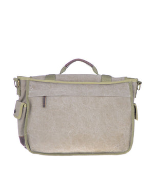 Canvas Messenger Bag - Military - Back