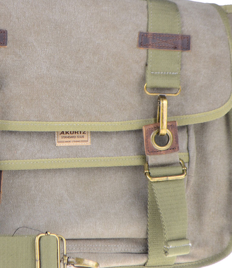Canvas Messenger Bag - Leather Trim