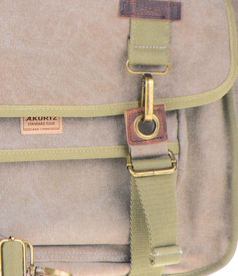 Canvas Messenger Bag - Metal Hardware