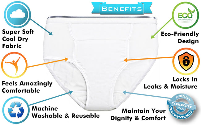 Men's Reusable Incontinence Cool Dry Adult Briefs - ComfortFinds
