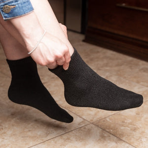 Diabetic Ankle Socks - Black - size 9-11/10-13 - 6 Pairs/12 Pairs