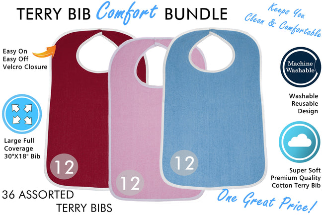Terry Cloth Adult Size Bib - ComfortFinds