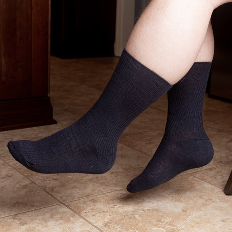 Diabetic Dress Socks - Black/Navy/Charcoal/Black Only/Light Gray - size 9-11 / size 10-13 - 6 Pairs , 12 Pair