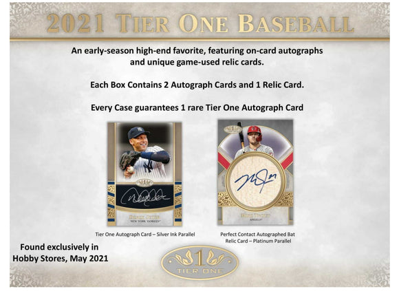2 Per Person -2021 Topps Tier One Baseball Hobby Box