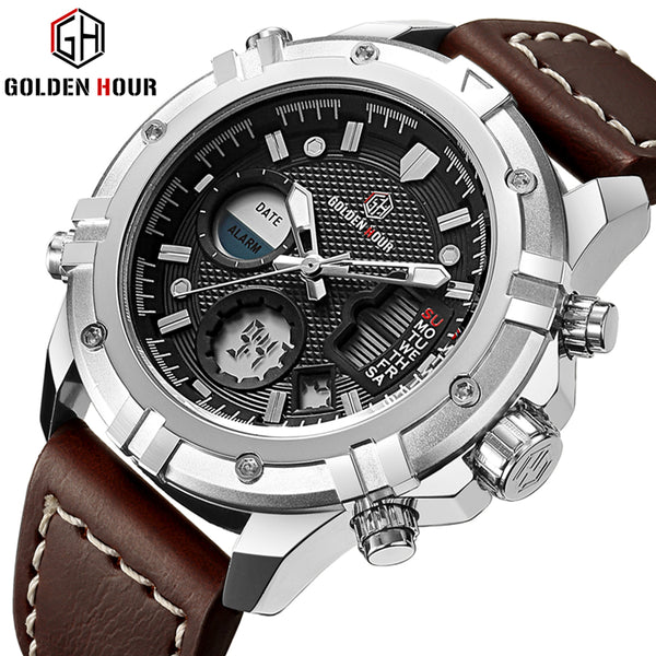 656d704c282 GOLDENHOUR Mens Watches Top Brand Luxury Quartz Analog Digital Watch Men  Leather Military Sport Wristwatch Man