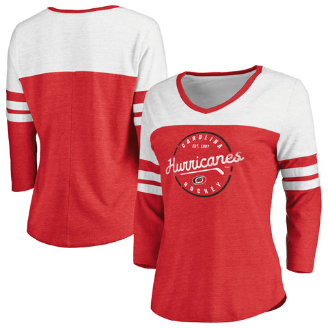 Fanatics Ladies Hurricanes True Classic Home 3/4 Sleeve Tee