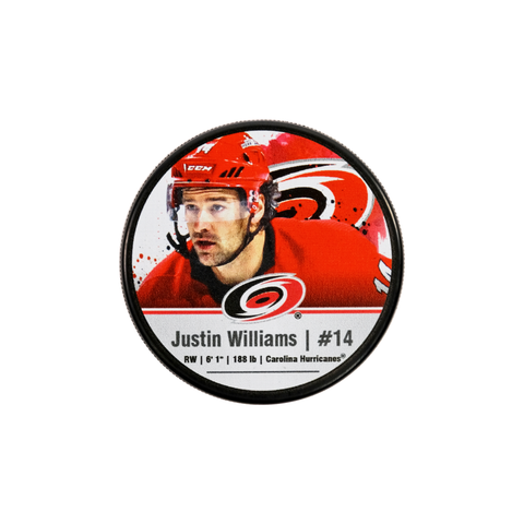 Carolina Pro Shop Carolina Hurricanes Novelties Pucks Justin Williams Player Puck