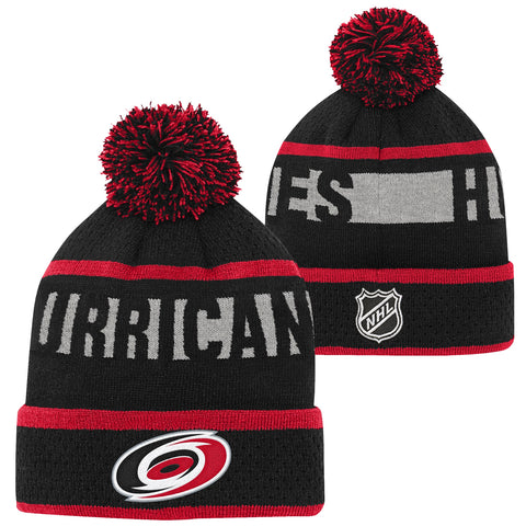 Youth Hurricanes Puck Pattern Cuffed Knit Pom