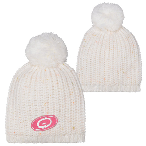 Girls Hurricanes Pink Logo Cuffed Knit Pom