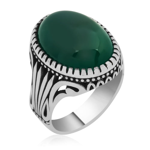 Classic Green Aqeeq Stone Silver Men Ring