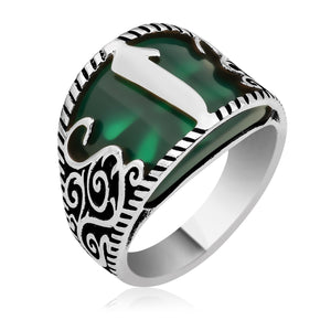Curved Green Aqeeq Silver Men Ring With Alif