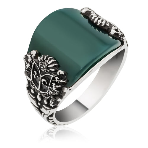Curved Green Aqeeq Silver Men Ring