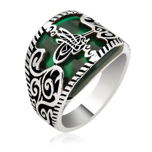 Curved Green Aqeeq Silver Men Ring With Tughra