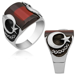Curved Red Aqeeq Stone Ring With Crescent Moon And Star