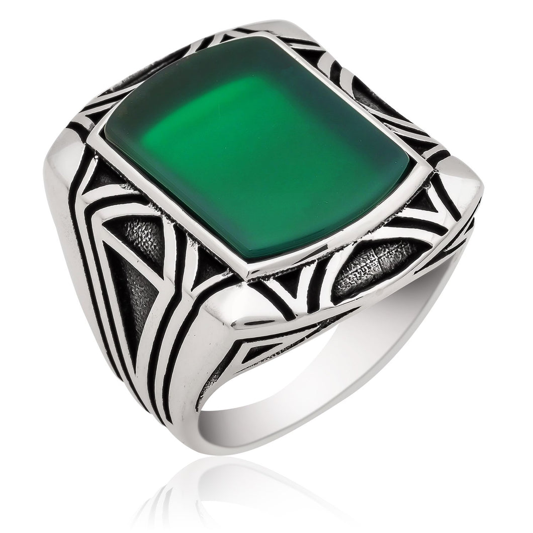 Big Green Classic Aqeeq Stone Silver Men Ring