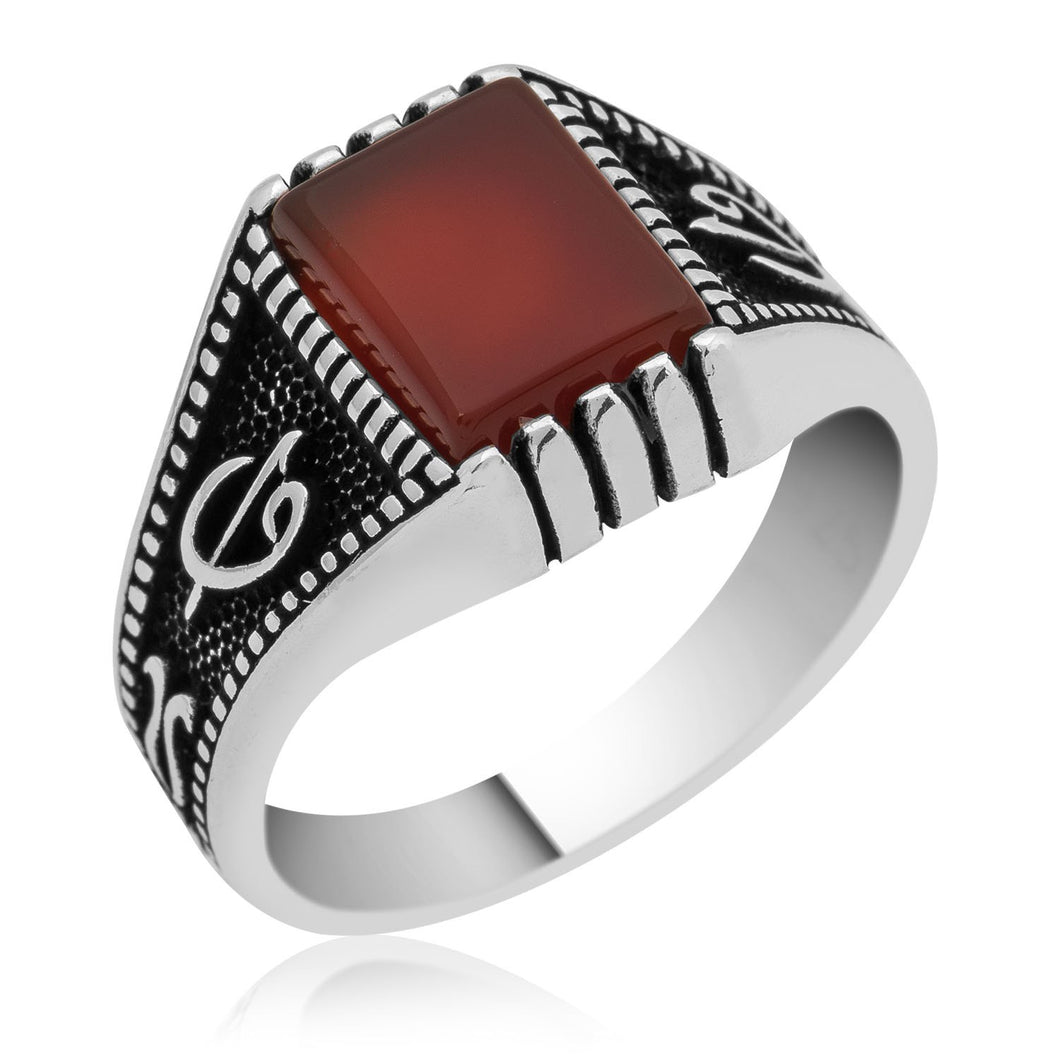 Pinky Finger Red Square Aqeeq Silver Men Ring