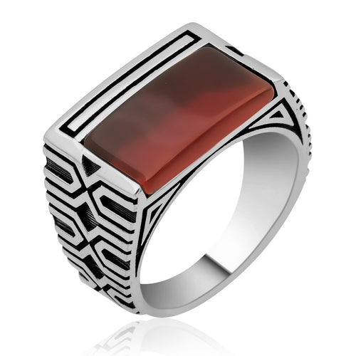 Red Rectangle Half Aqeeq Stone Silver Men Ring