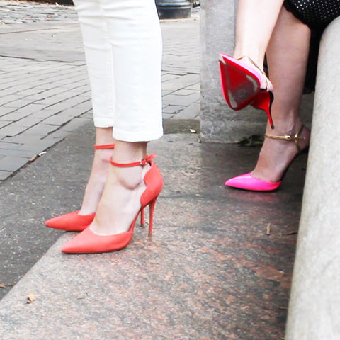 Schutz Orange and Christian Louboutin Hot Pink pointy toe Heels cause blisters