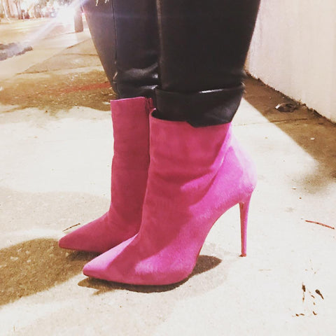 Ankle booties, boots, Hot Pink, Louboutin