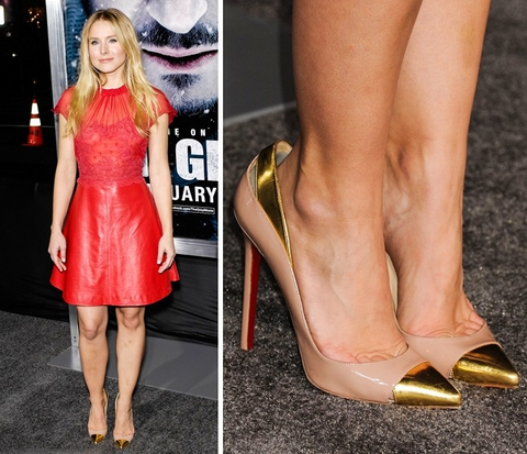 Why Celebrities Wear Shoes That Are Too Big for Them, Kristen Bell in nude heels