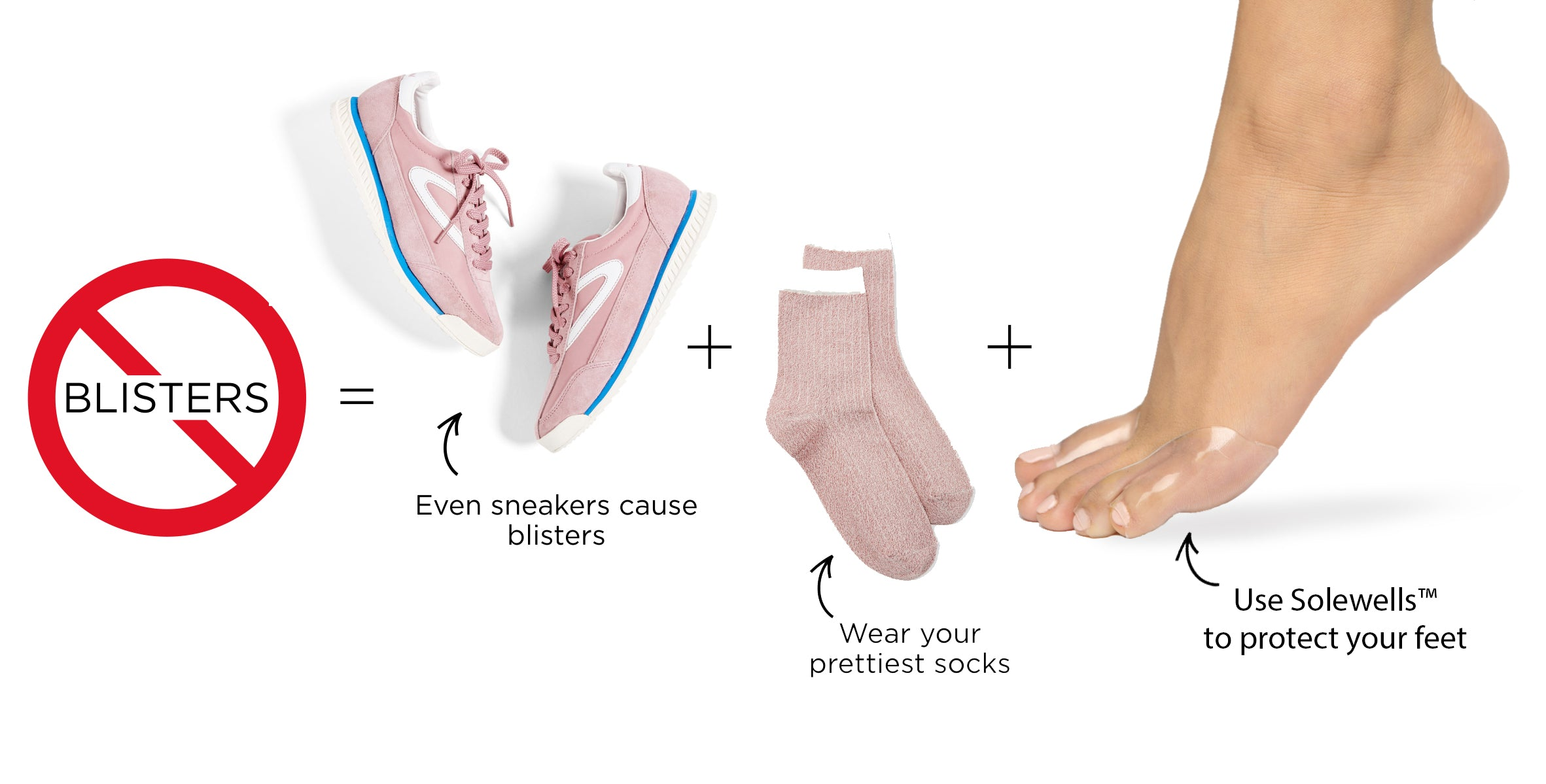 To prevent sensitive feet and blisters wear Solewells foot pads with socks and sneakers