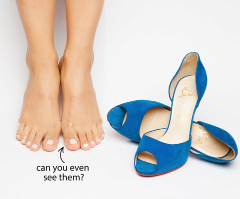 Almost invisible foot pads for heels and shoes