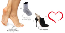 Foot pads worn under stockings or socks then heels to prevent blisters and foot irritation in heels