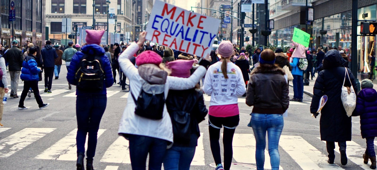 Students protesting at a Women's March