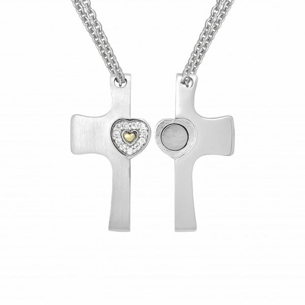 Credo Cross Pendant with 14k Gold Plated Heart and White Sapphire Rim