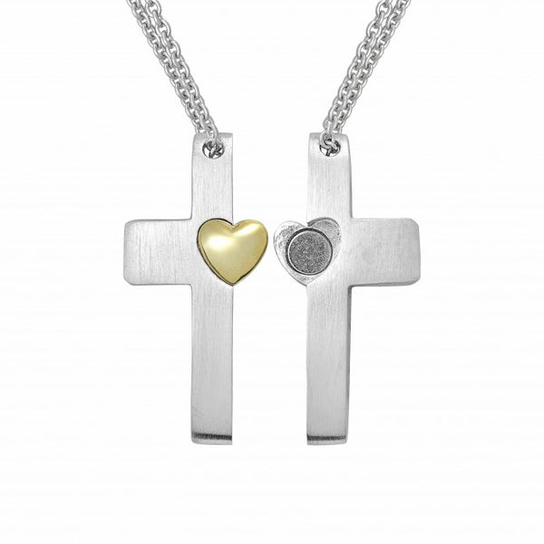 Credo Cross Pendant with 14k Gold Plated Heart