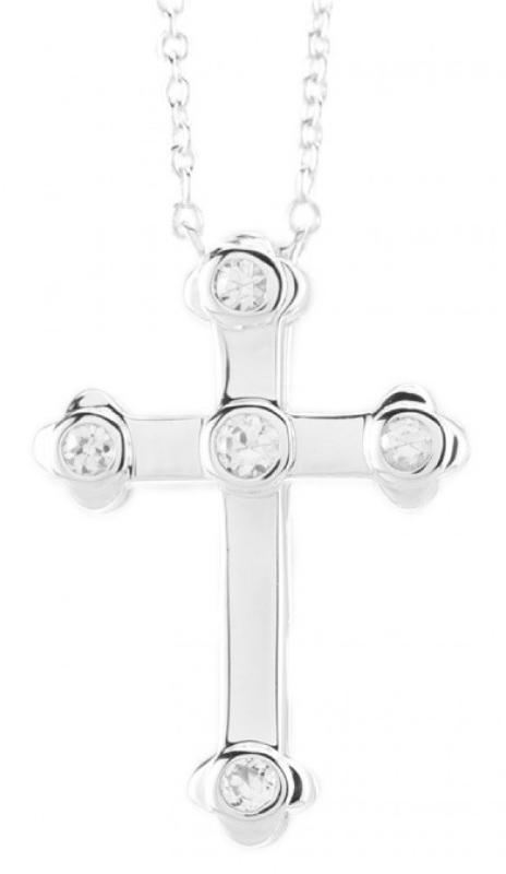 Credo Cross Pendant with White Sapphires