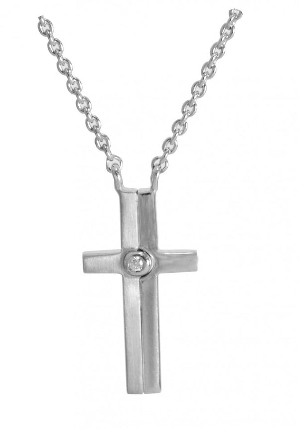 Credo Cross Pendant with White Sapphire Center