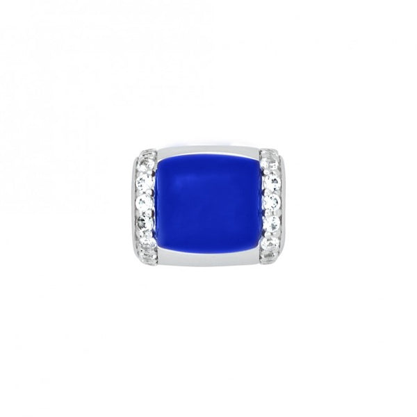 Blue Cabochon Genesis Ring Insert with White Sapphire Accents