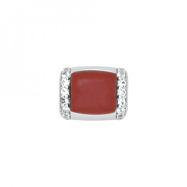 Coral Cabochon Genesis Ring Insert with White Sapphire Accents
