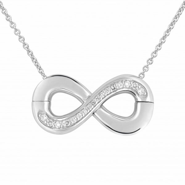 Infinity Sterling Silver and Diamond Magnetic Split Pendant
