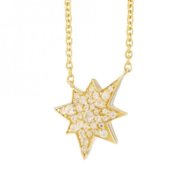 Petite 14k Gold Plated Lucky Star Classic White Sapphire