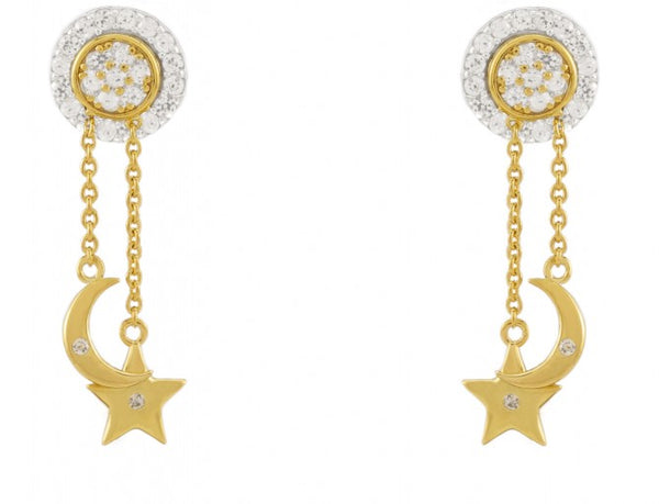 14k Gold Plated Magic Transformation Moon and Star Earrings