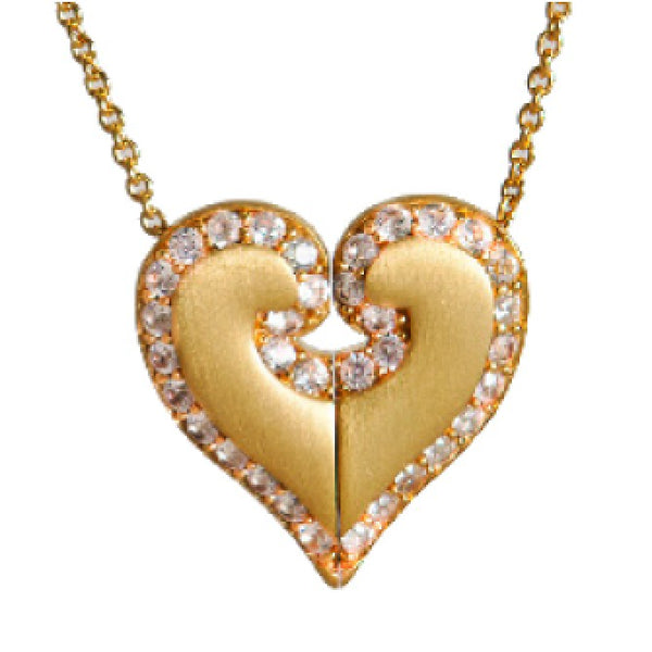 14k Gold Plated United Heart White Sapphire