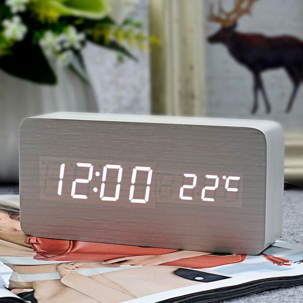 LED Wood Grain Alarm Clock (14 Colors)