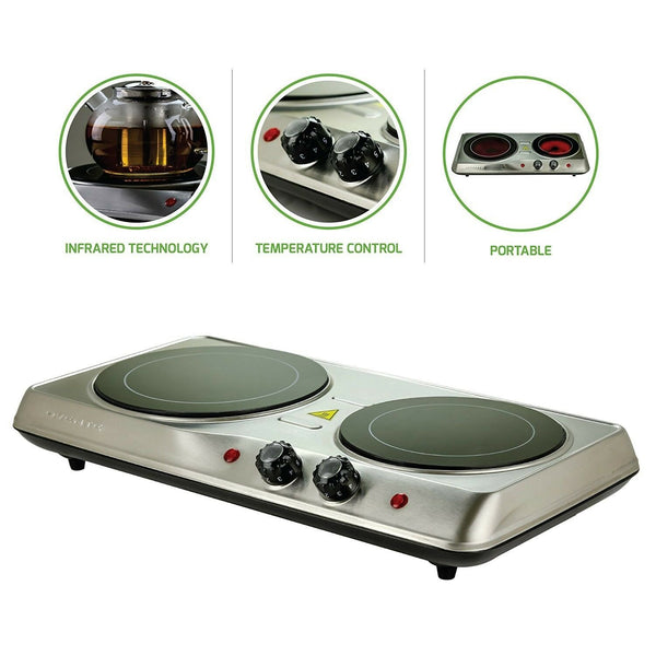 Ovente Countertop Burner Infrared Ceramic Glass Double Plate Cooktop1700W