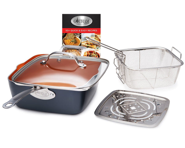 Gotham Steel Ti-Cerama Copper Deep Square 9.5 Frying Pan 4 Piece Set w Lid